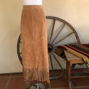 SAGUARO Soft Suede Leather Western Fringed Skirt 8